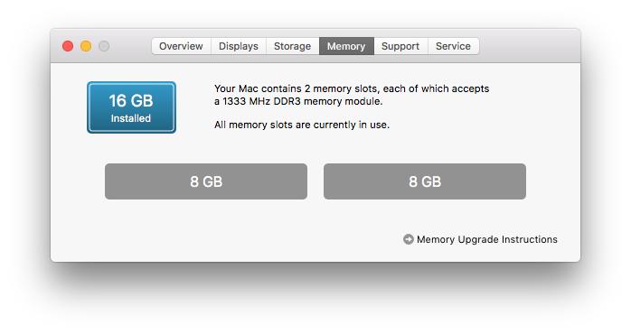 macOS Accepts 16GB