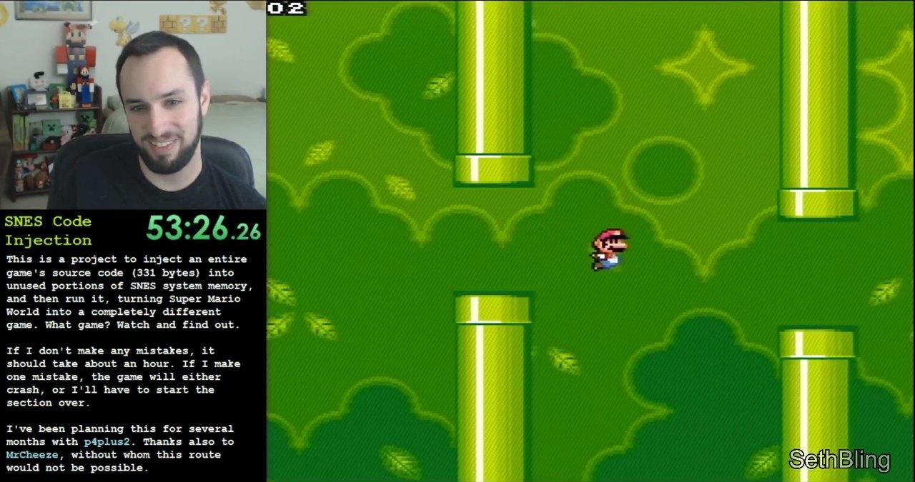 Guy Hacks Super Mario World Using Glitches to Inject Flappy Bird