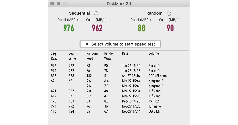 DiskMark on Sabrent Tool-Free Enclosure