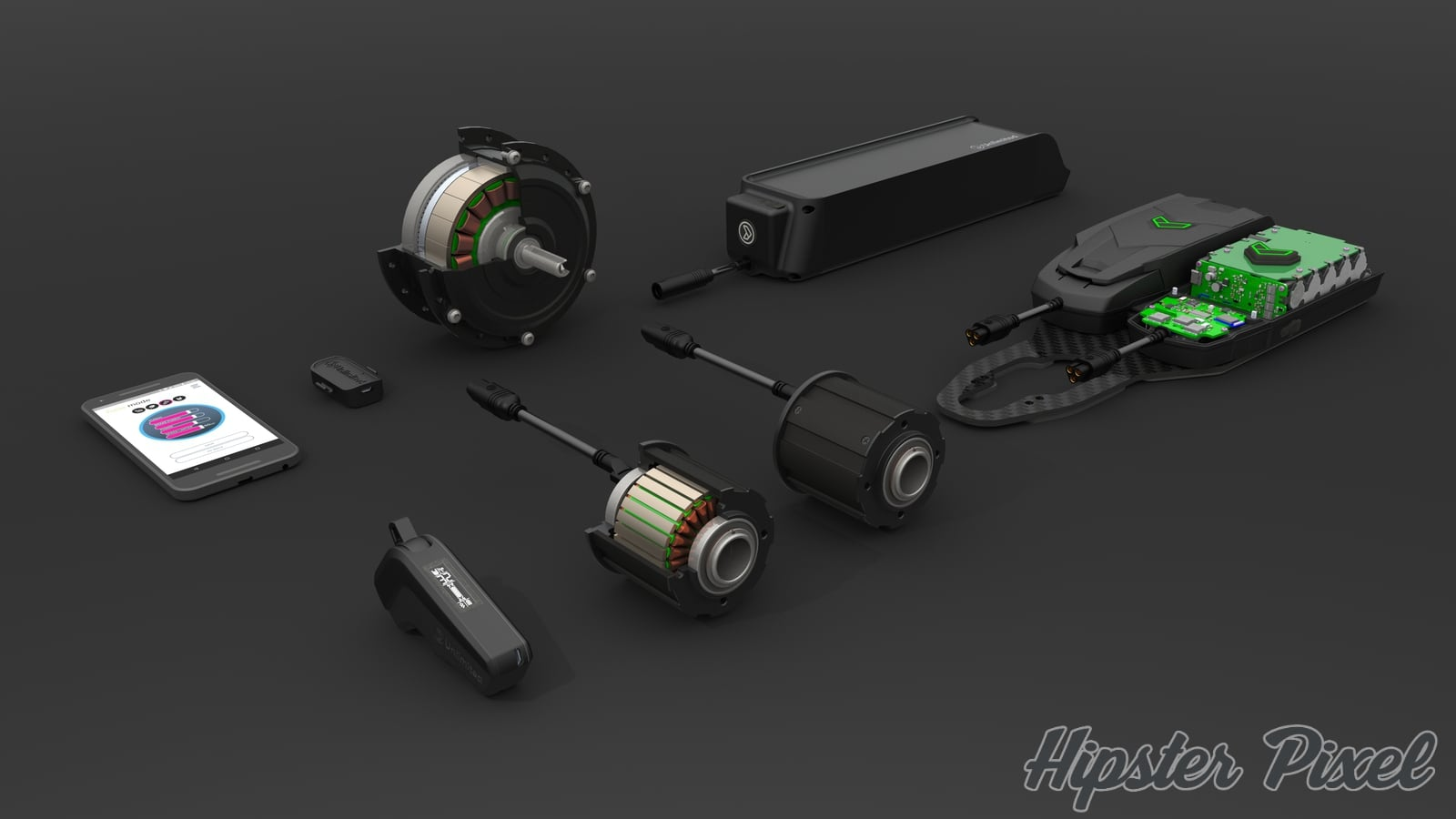 Sweet Exploded View of the Unlimited eBike Conversion Kit